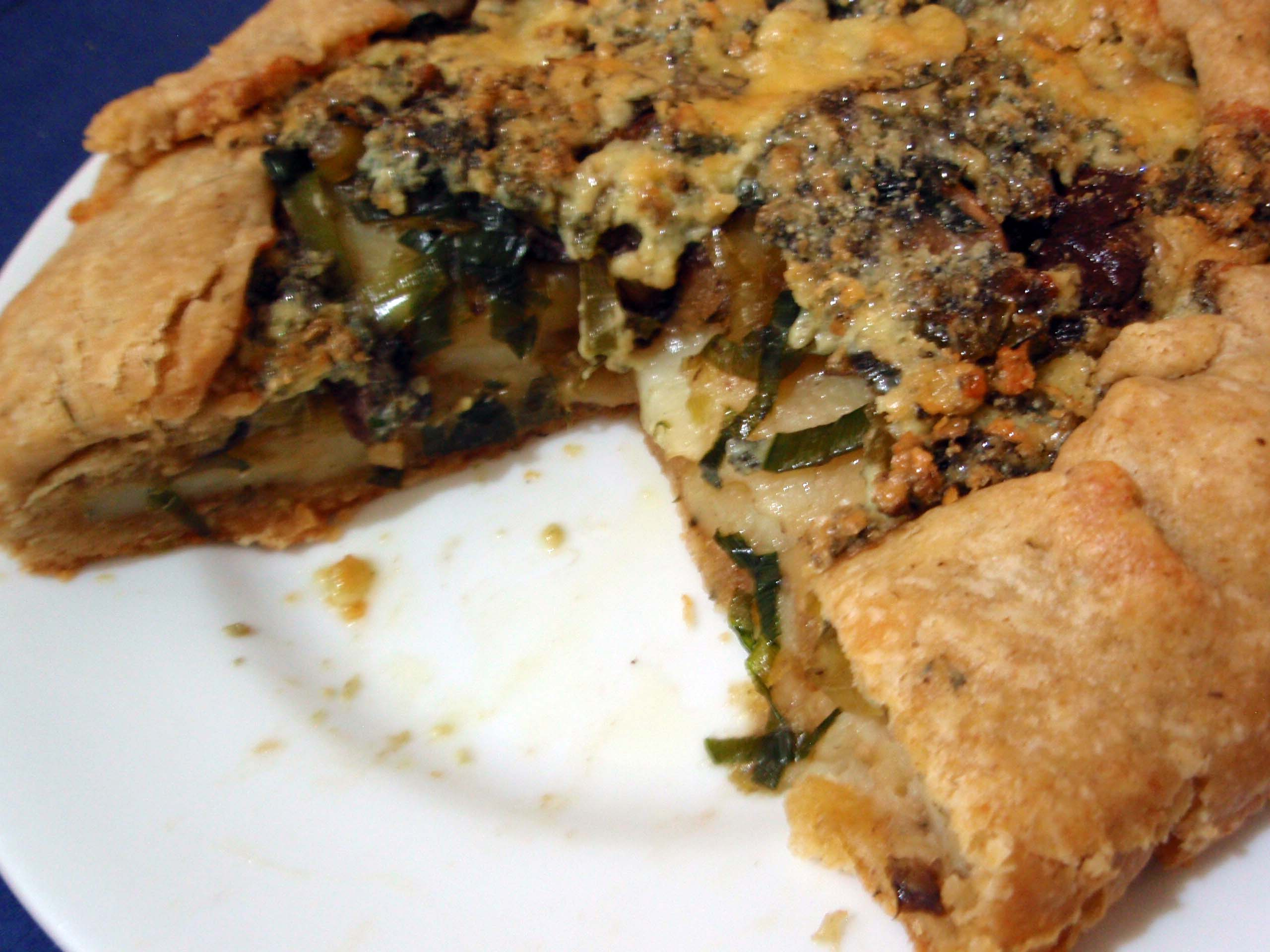 savory galette with potato, leek, mushroom and gorgonzola in a whole ...